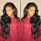 Vanessa Queen Body Wave Wig With Bangs 180 Density Long Wave Synthetic Lace Front Wig For Black Women 24Inch