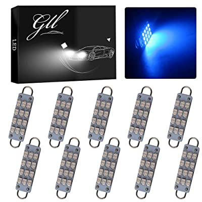 "GrandviewTM 10 X 44mm(1.73"") 12-SMD 1210 3528 Chip Rigid Loop Festoon LED Bulbs for Car Interior Light Dome Map Light Door Courtesy Lights 561 562 567 (Blue): Automotive"