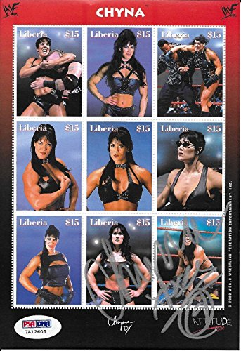 Chyna Signed WWE WWF Original 2000 Uncut Liberia Postage Stamp Sheet COA - PSA/DNA Certified - Autographed Wrestling Miscellaneous Items ()