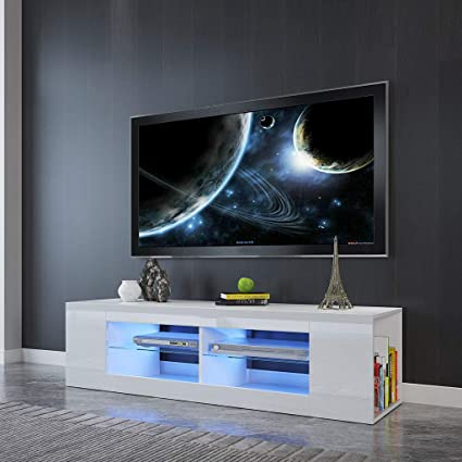 Modern White Tv Stand Led Tv Stand High Gloss Tv Cabinet With Media Storage And Shelves 65 Inch Entertainment Center For Living Room Decor Bedroom Decor Home Audio Theater