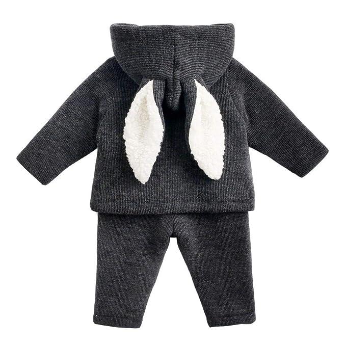 ASHOP Ropa Bebe Otoño Invierno, Niña Niño Impermeable Abrigo Orejas de Conejo con Capucha Chaqueta cálida Tops + Pantalones 0-5 años: Amazon.es: Ropa y ...