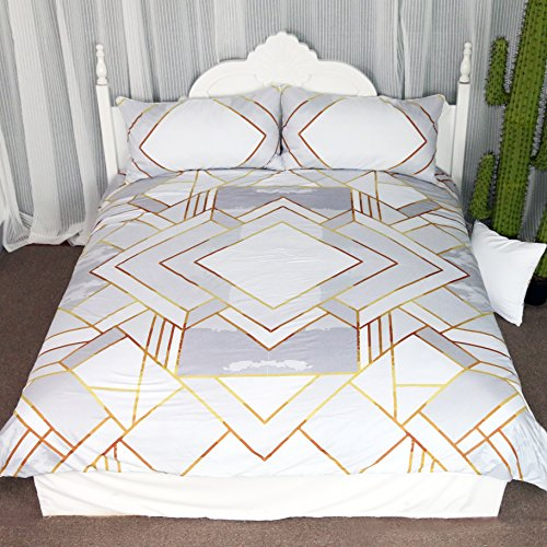 Price comparison product image Modern Gold Geometric Duvet Cover Set 3 Pieces Silver Geometry Gold Square Bedding Set Simple Coverlet Set (Queen)