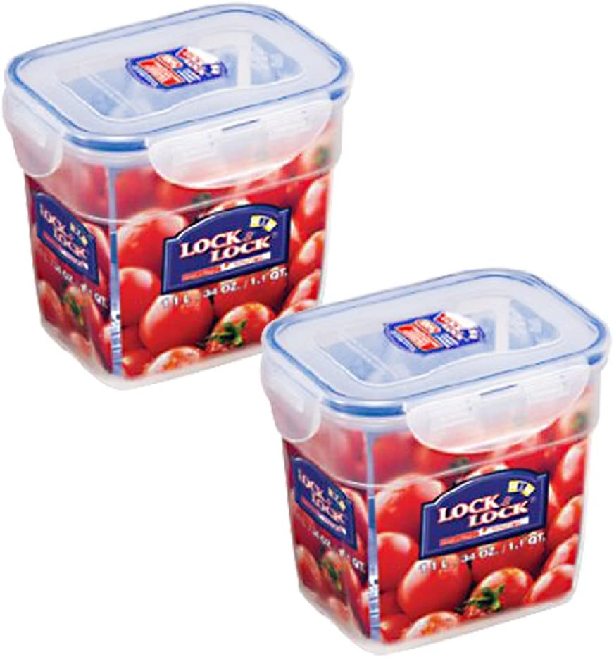 Lock&Lock 34-Fluid Ounce Rectangular Nestable Style with Hook, 4.1-Cup (Pack of 2)