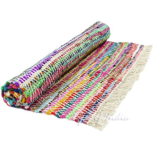 Eyes of India – 4 X 6 ft White Chindi Decorative Colorful Woven Rag Multicolor Rug Bohemian Boho Indian