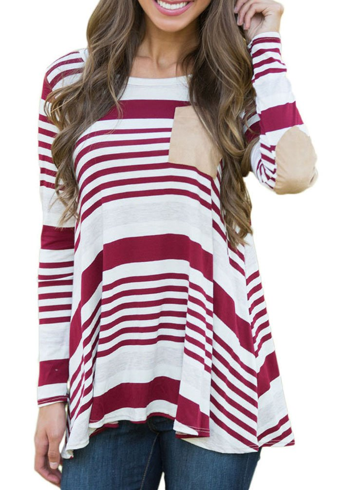 Chvity Women\'s Crewneck Elbow Patch Striped Long Sleeve T-shirt Blouse Tops (Burgundy, S)