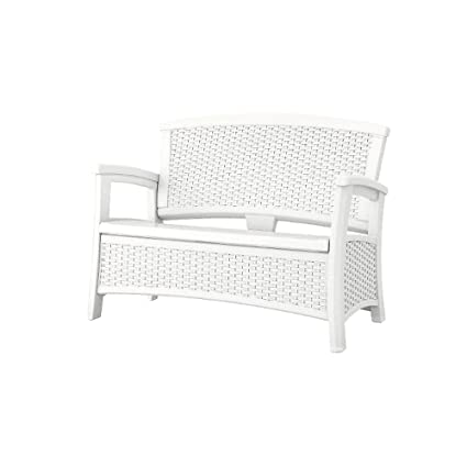 Fine Amazon Com Ghy Outside Loveseat White Patio Storage Arm Andrewgaddart Wooden Chair Designs For Living Room Andrewgaddartcom