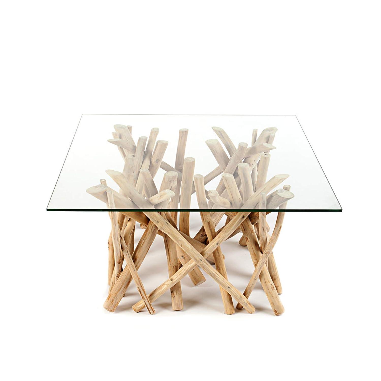 Design Teakholz Couchtisch DRIFTWOOD DRIFTWOOD DRIFTWOOD mit Glasplatte eckig Tisch Treibholz Holztisch 717aaa