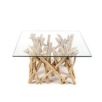 Design Teakholz Couchtisch Driftwood Mit Glasplatte Eckig Tisch