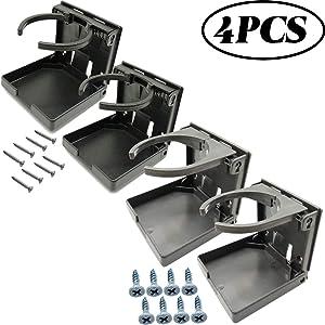 TIHOOD 4PCS Adjustable Folding Drink Holder with Screws/Adjustable Cup Holder for Marine/Boat/Caravan/Car (2Black+2Grey)