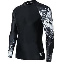 HUGE SPORTS Mens Wildling Series Quick Dry Compression MMA BJJ Rash Guard Rashguard Swim Swimming Surfing Shirt Tee Long…