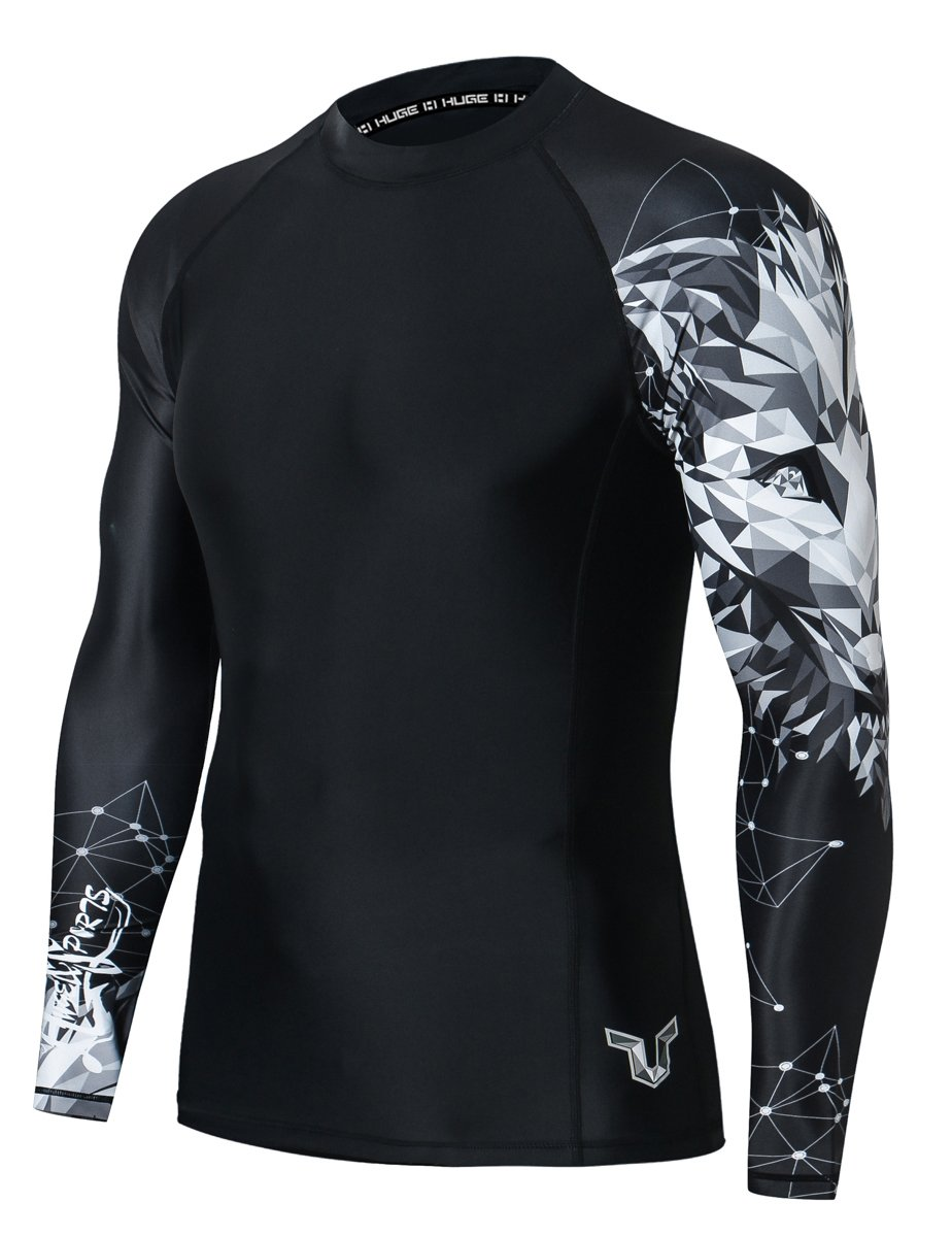 HUGE SPORTS Wildling Series UV Protection Quick Dry Compression Rash Guard (Fox,XL) by HUGE SPORTS