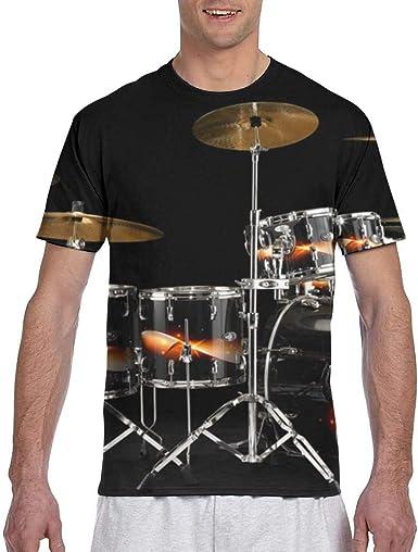Camiseta Negra de Manga Corta Drum Hip Hop para Hombre Mujer ...