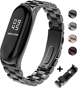 Mi Band 3 Correa de Metal BDIG Pulsera para Xiaomi Mi Band 3 Correa de Acero Inoxidable Agradable (No Host) (Metal Black): Amazon.es: Electrónica