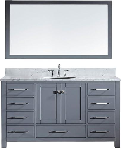 Virtu USA GS-50060-WMRO-GR Caroline Avenue Single Bathroom Vanity with Marble Top Round Sink with Mirror, 60 , Cool Gray