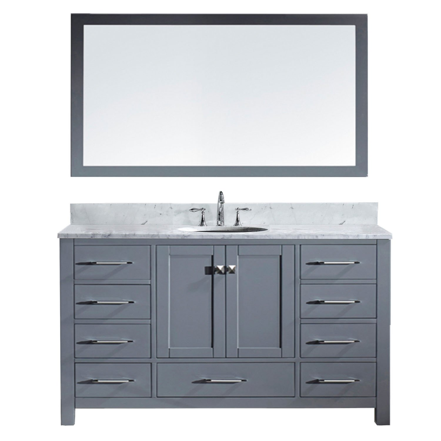 Virtu USA GS-50060-Wmro-GR Caroline Avenue Single Bathroom Vanity with Marble Top/Round Sink with Mirror, 60'', Grey