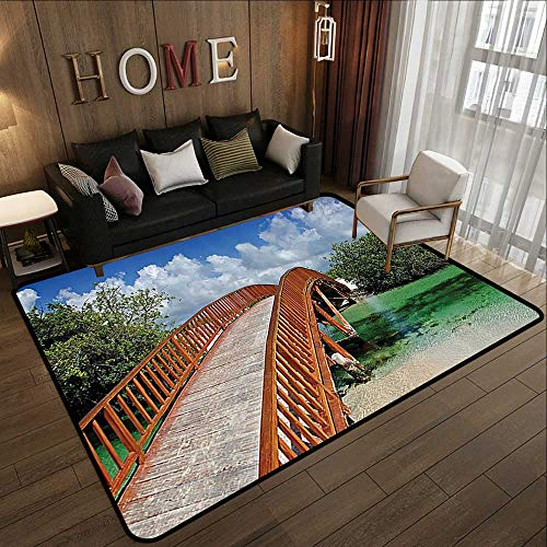 Low-Profile Mats,Apartment Decor Collection,View of an Arched Wooden Bridge Spanning Over a Small River Flowing into The Ocean View,Blue 47