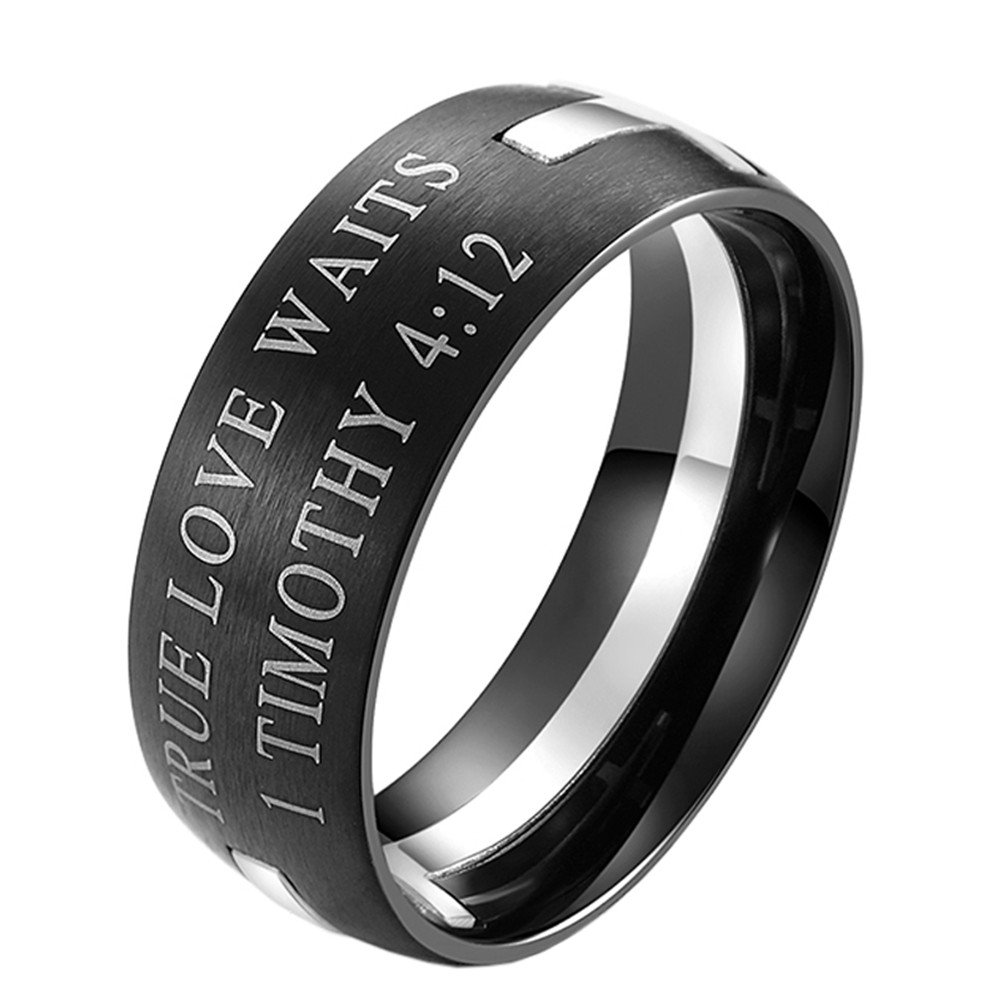 UNAPHYO Men's Stainless Steel True Love Waits 1 Timothy 4:12 Cross Puzzle Ring Band Silver Size 9