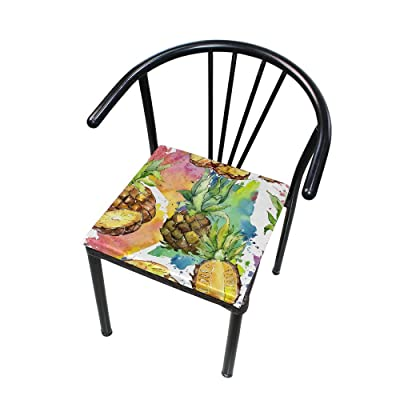 "Bardic HNTGHX Outdoor/Indoor Chair Cushion Watercolor Pineapple Square Memory Foam Seat Pads Cushion for Patio Dining, 16"" x 16"": Home & Kitchen"