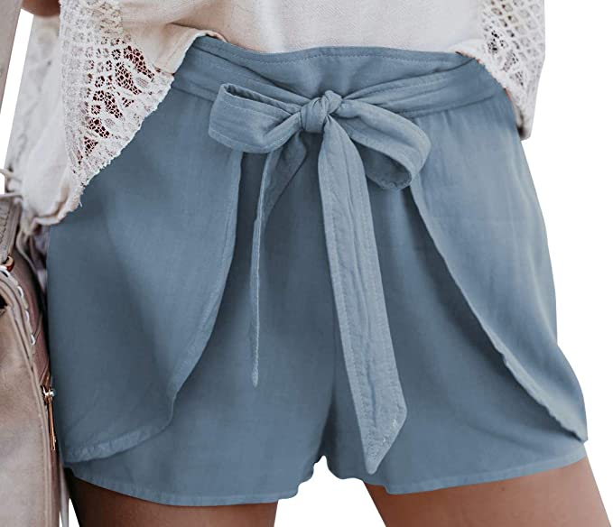 Womens Drawstring Loose Pockets Shorts