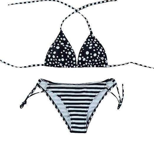 ee0c49e086 Amazon.com: Women Patchwork Halter Strappy Bra and Bikini Two Piece Set Push -Up Pad Swimwear: Clothing