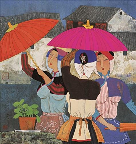 [Oil Painting 'Hu Yongkai,Women With Umbrellas,21th Century', 10 x 11 inch / 25 x 27 cm , on High Definition HD canvas prints is for Gifts And Foyer, Kids Room And Study Room] (Woman Lioness Costume)