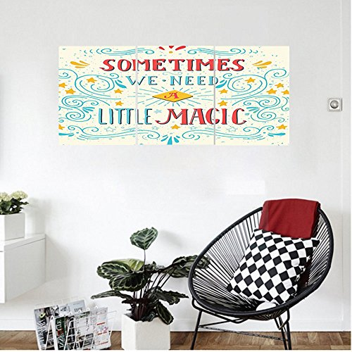 Liguo88 Custom canvas Magic Home Decor Wall Hanging We Need Little Magic Frame Print with Ornate Swirling Figures Motifs Retro Pop Art Style Bedroom Living Room Decor Multi
