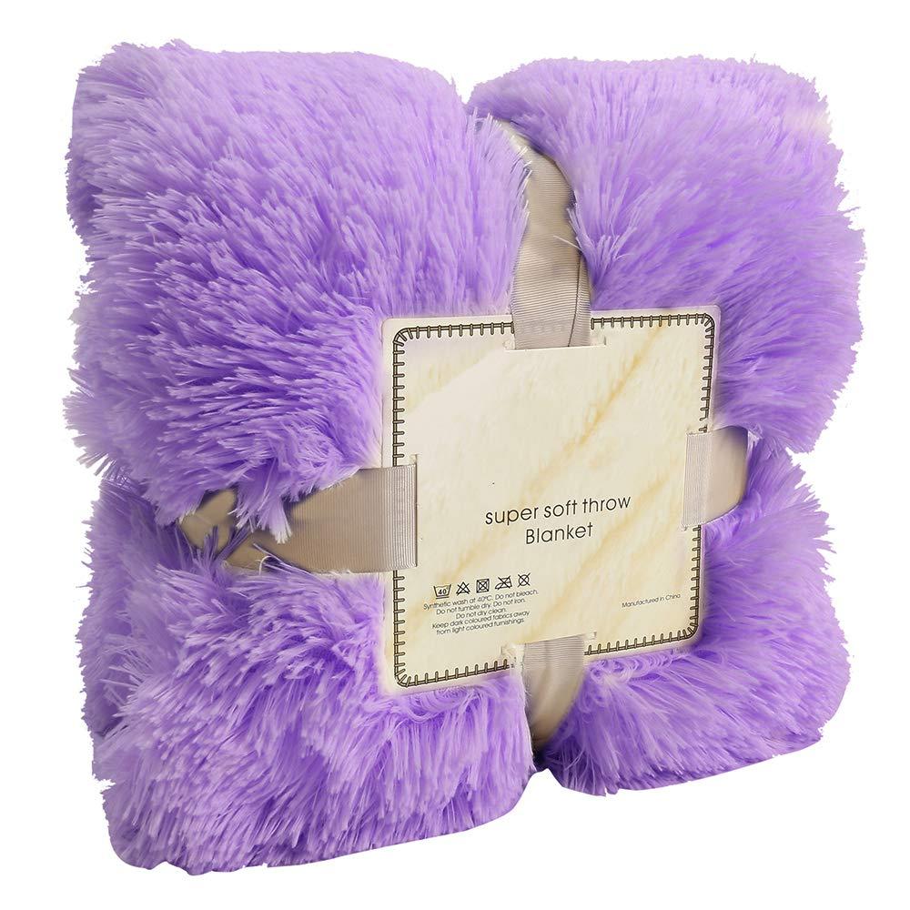 160 FlowersSea Long Shaggy Jet/é Fluffy Double c/ôt/é Doux et Chaud en Fausse Fourrure Couvre-lit pour lit Chaise ou canap/é 200cm Beige