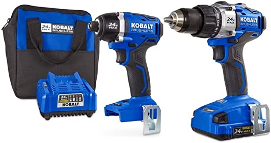 Kobalt 2-Tool 24-Volt Max Lithium Ion Li-ion Brushless Motor Cordless Combo Kit with Soft Case