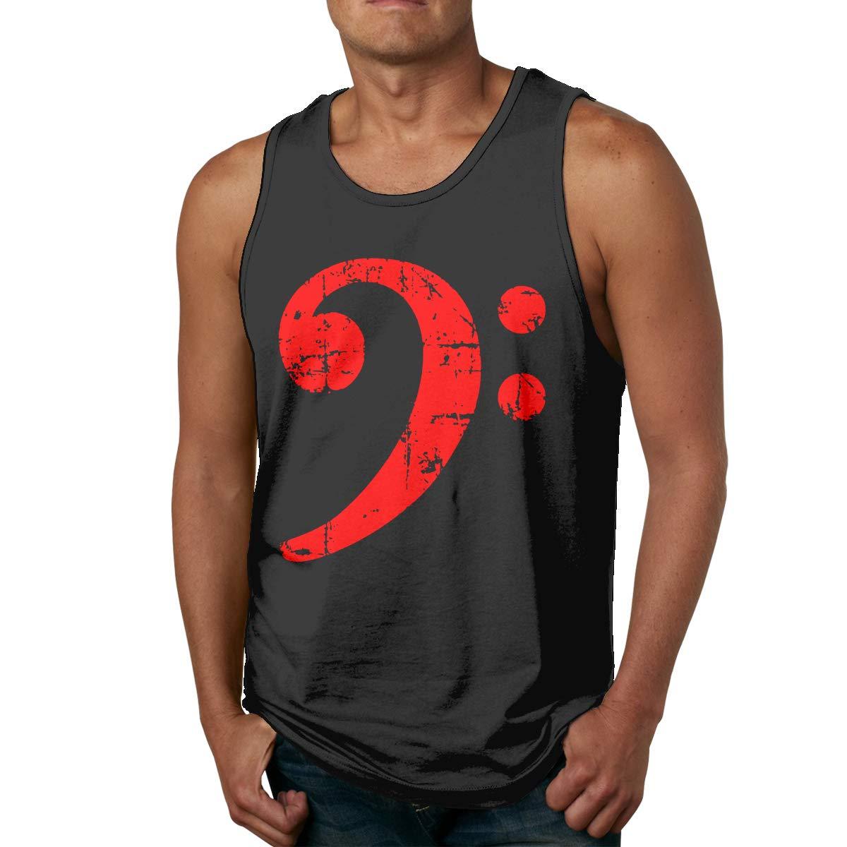 Retro Bass Clef Musical Symbol Men Printed Vest Sports Tank-Top T Shirt Leisure Tees Sleeveless Shirts
