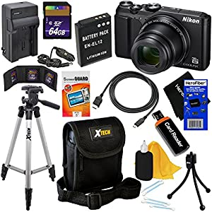 Nikon COOLPIX A900 Digital Camera with 4K Video, Wi-Fi and NFC (Black) - International Version (No Warranty) + Battery & AC/DC Charger + 10pc 64GB Deluxe Accessory Kit w/ HeroFiber Cleaning Cloth