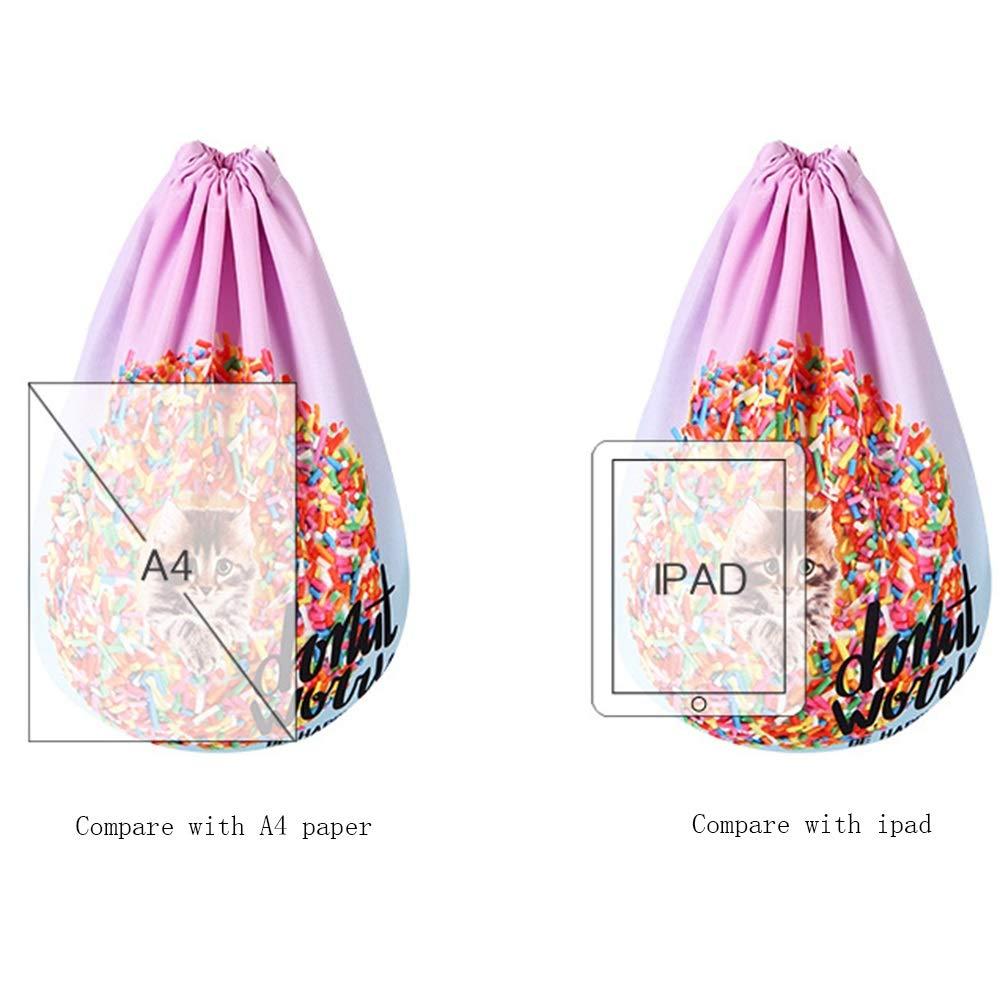 Size 44 TOMSSL Cat Pattern Personality Backpack Shoulder Bag Drawstring Backpack Polyester Minus Negative Breathable Yoga Bag Unisex Backpack Bundle Pocket Suitable for Fitness Shopping