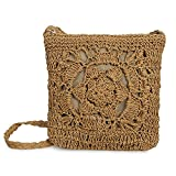 Olyphy straw Square shoulder purse for Women Retro Woven Crossbody Bag crochet Envelope Messenger Satchel for Summer Beach (darkbrown)