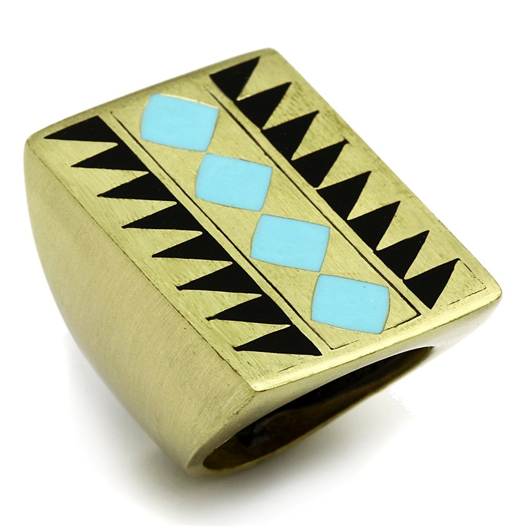 Classy Not Trashy/® Cocktail Design Womens Fashion Jewelry Ring Premium Grade High Quality Brass with Antique Copper Finish and Turquoise Colored Epoxy Stone