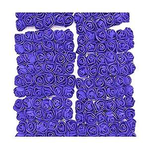 HANBINGPO 36/72/144pcs 2cm Decorative Teddy Bear Rose PE Foam Artificial Flower Bouquet for Home Wedding Decoration DIY Wreath Fake Flower,Royal Blue,72pcs 97