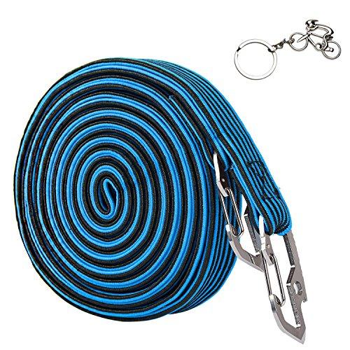 Yopoon Elastic Bicycle Rack Strap, Durable Bike Hook Tie Elasticated Luggage Rope Bungee Cord Band with Carbon Steel Hook, 2 & 4 Meter Lengths, Blue/Black/ Red/Green (Luggage Mini Rack)