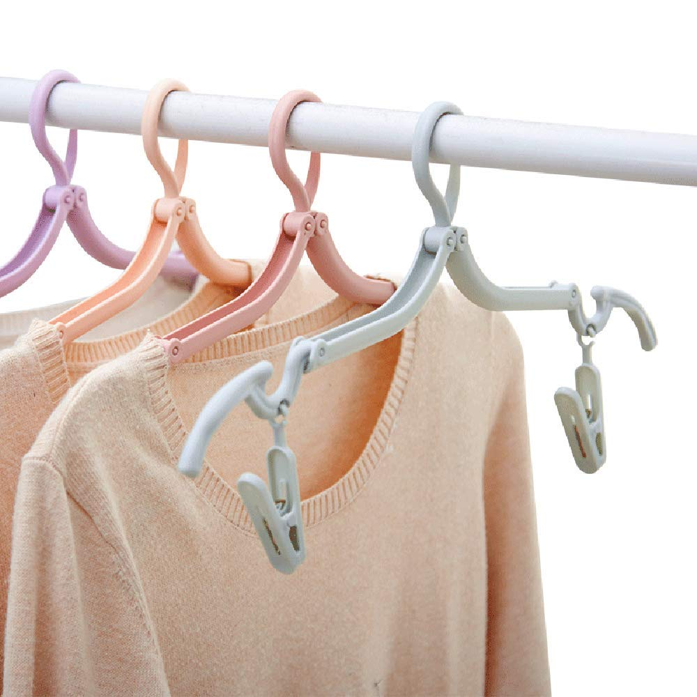 Without Clips Freego 10Pcs Portable Plastic Clothes Hanger Folding Drying Rack for Home and Outdoor Travel Camping