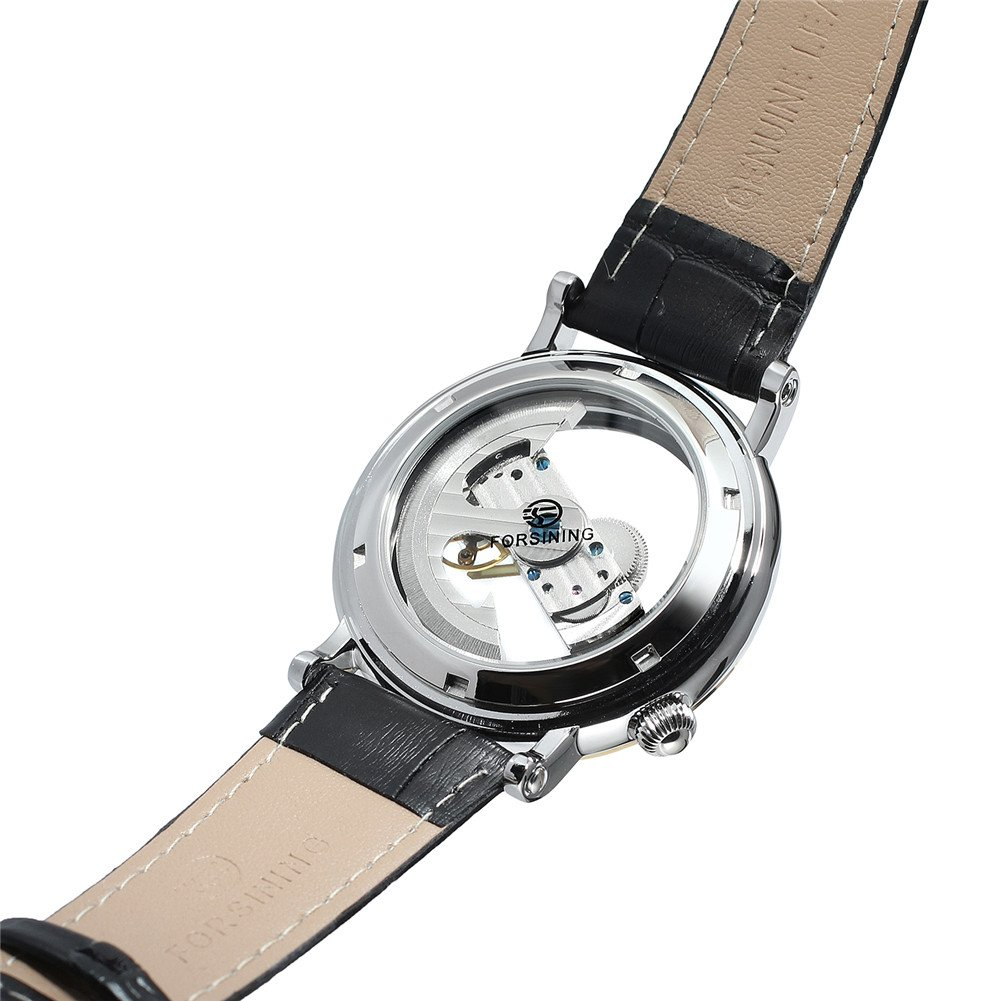 Amazon.com: Shaarms Automatic Wristwatch Transparent Dial Mechanical Leather Watches Mens Analog Watch L1003 GBlack: Watches