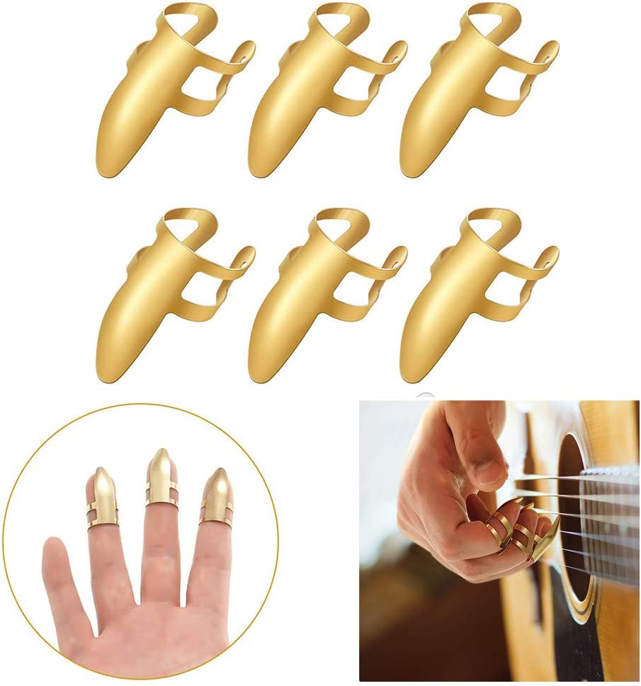 Borstu Guitar Plectrum 6 Piezas Puntas de Guitarra Puntas de los Dedos Tapas Protectoras de Acero Inoxidable para Guitarra eléctrica bajo Ukelele