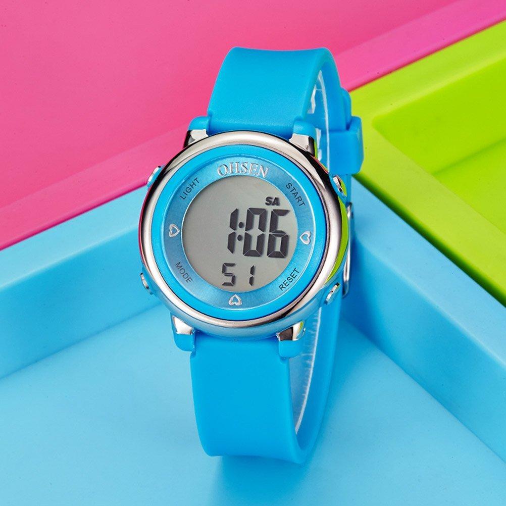 565e06c87dc1 PIXNOR Chicas de múltiples funciones resistente al agua luz de fondo  pantalla cuarzo reloj deportivo OHSEN niños mujeres (azul)  Amazon.es   Deportes y aire ...