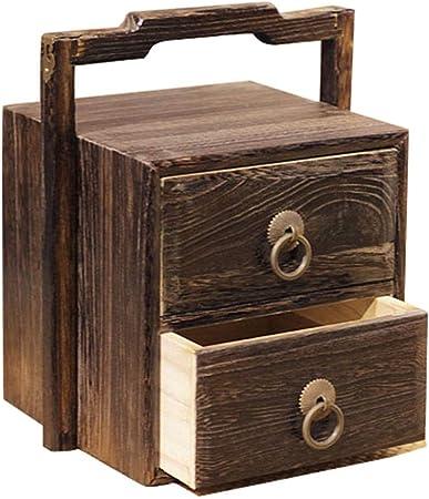 Caja de joyería Antigua de Madera Caja de Costura portátil Retro Pequeña Caja de joyería de múltiples Capas Caja de Almacenamiento de té: Amazon.es: Hogar