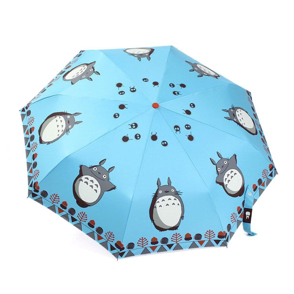 F.Dorla Lovely Automatic Folding Umbrella Telescopic umbrella UV Protection Daily Use (Light Blue)