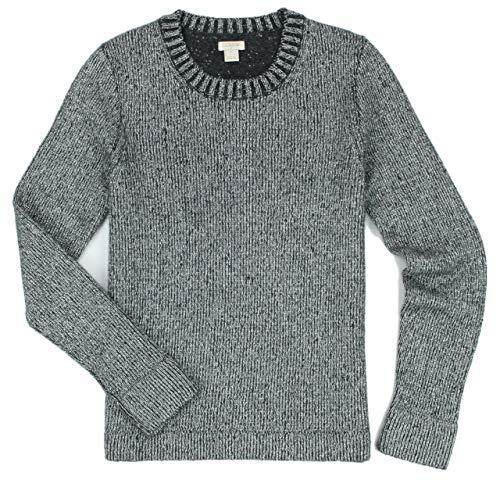 Metallic Sweater Nylon (J. Crew - Women's - Crew Neck Wool Blend Metallic Sweater (Multiple Color/Size Options) (Large, Silver Charcoal))