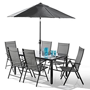 Pleasing Santorini 8 Piece Garden And Patio Set New 2018 Model With 100 Aluminium Framework Non Rust 6 X Multi Position Recliner Chairs Table And 2 3 Metre Download Free Architecture Designs Lectubocepmadebymaigaardcom