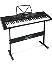 ALPHA 61 Keys Electronic Piano Keyboard with USB Input, Audio Input, Microphone Input, Headphone Output, 255 Tones Rhythms 50 Demos LCD Electric Holder Music Stand Adaptor Power