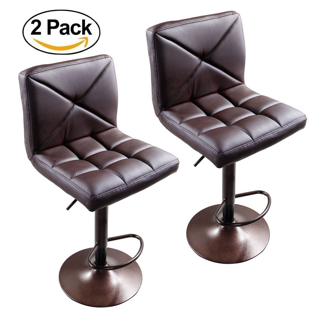 FCH Set of 2 Square PU Leather Barstools Height Adjustable from 24'' - 30'' 360°Swivel Bar Stools with Large Paded Seat/Backrest/Footrest for Kitchen, Home, Office (Coffee)
