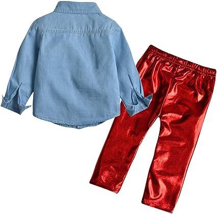 Hongyuangl Niña Camisa Vaquera de Manga Larga Jeans Blusa + Color Metalizado Leggings elásticos Brillantes: Amazon.es: Ropa y accesorios