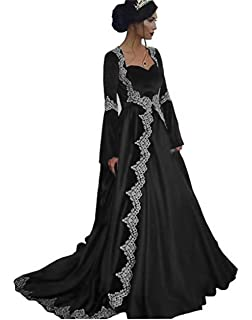 Dydsz Womens Medieval Evening Dresses Formal Gown Long Sleeves 2 Piece with Train D251