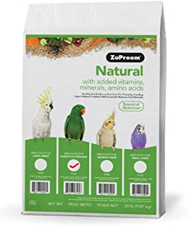 product image for ZuPreem Natural Bird Food for Parrots and Conures, 20 lb bag | Made in the USA, Essential Vitamins, Minerals, Amino Acids for Conures, Caiques, African Greys, Senegals, Amazons, Eclectus, Small Cockat