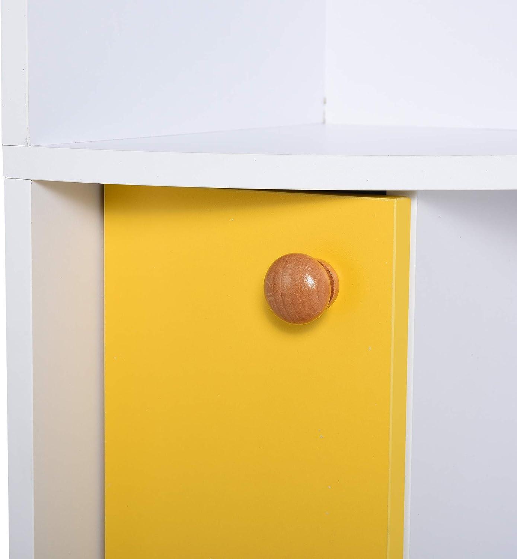 29.8 x 29.9 x 147cm Design Moderno homcom Scaffale Angolare da Parete in Legno Bianco con 5 Ripiani e Armadietto Giallo