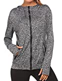 Zeagoo Women's Active Long Sleeve Work Out Gym Yoga Stretchy Zip Thumb Hole Jacket (Gray, XL)